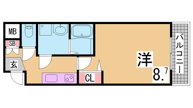 物件番号: 1111290721  神戸市兵庫区西出町 1K マンション 間取り図