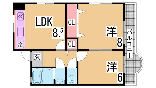 物件番号: 1111290729  神戸市北区花山台2丁目 2LDK マンション 間取り図