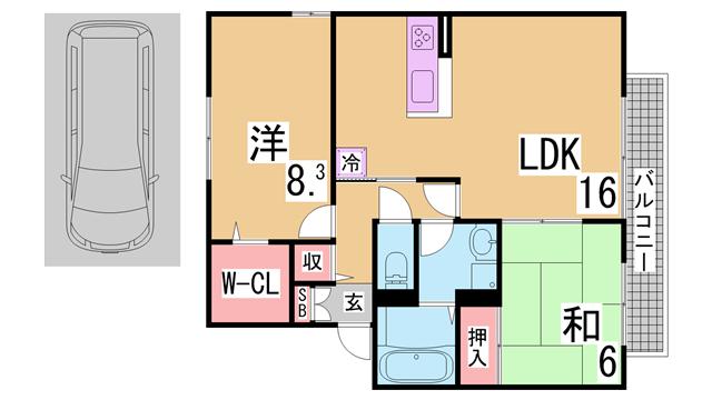 物件番号: 1111290733 セジュールみやび  神戸市北区藤原台中町7丁目 2LDK ハイツ 間取り図