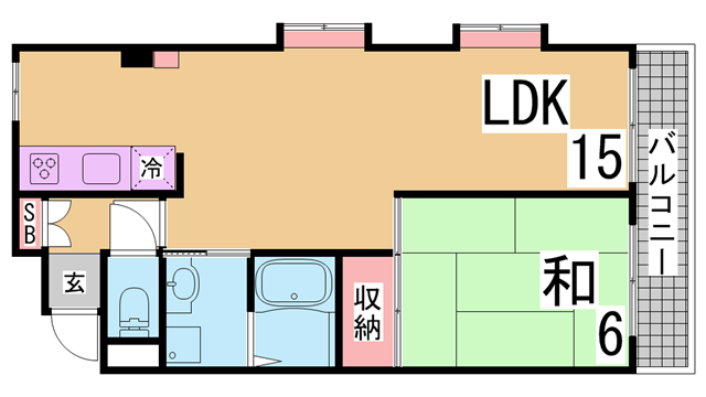 物件番号: 1111290734  神戸市北区鈴蘭台東町1丁目 1LDK マンション 間取り図