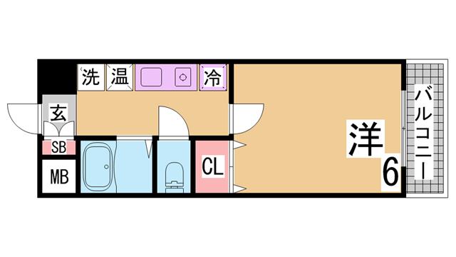 物件番号: 1111290735  神戸市北区鈴蘭台東町1丁目 1LDK マンション 間取り図