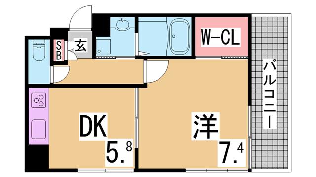 物件番号: 1111290738  神戸市長田区松野通1丁目 1DK マンション 間取り図