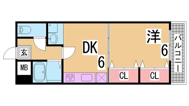 物件番号: 1111290751  神戸市長田区池田広町 2DK マンション 間取り図