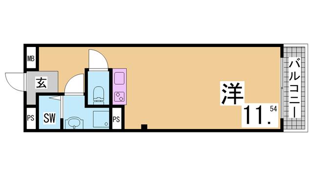 物件番号: 1111290753 ロイヤル花隈  神戸市中央区北長狭通6丁目 1R マンション 間取り図