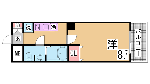 物件番号: 1111290757  神戸市長田区北町1丁目 1K マンション 間取り図