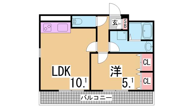 物件番号: 1111291250  神戸市長田区腕塚町3丁目 1LDK マンション 間取り図