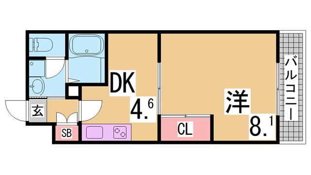 物件番号: 1111291507  神戸市北区有野町有野 2DK ハイツ 間取り図