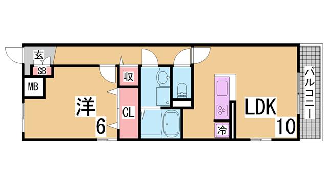 物件番号: 1111291509 グレイスヴィラⅡ番館  神戸市北区唐櫃台1丁目 1LDK アパート 間取り図