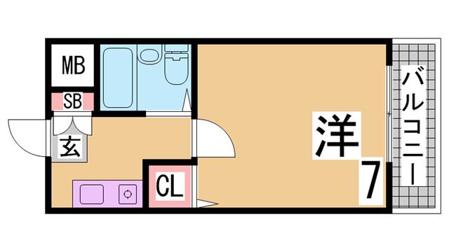物件番号: 1111291524  神戸市須磨区道正台1丁目 1K マンション 間取り図