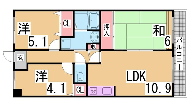 物件番号: 1111291527  神戸市兵庫区門口町 3LDK マンション 間取り図