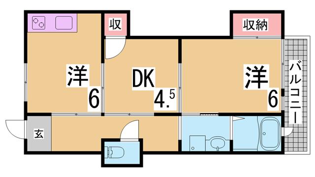 物件番号: 1111291528  神戸市兵庫区門口町 3LDK マンション 間取り図
