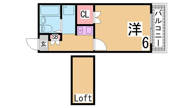 物件番号: 1111291531  神戸市須磨区一ノ谷町2丁目 1SK ハイツ 間取り図