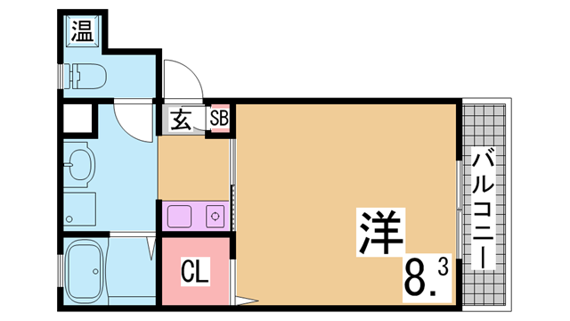 物件番号: 1111291534  神戸市北区鈴蘭台北町1丁目 1K マンション 間取り図