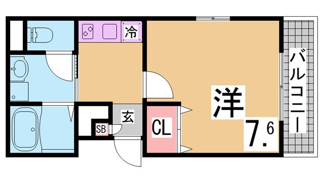 物件番号: 1111291537  神戸市長田区大谷町3丁目 1K マンション 間取り図