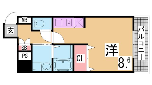物件番号: 1111291543  神戸市兵庫区大開通3丁目 1K マンション 間取り図