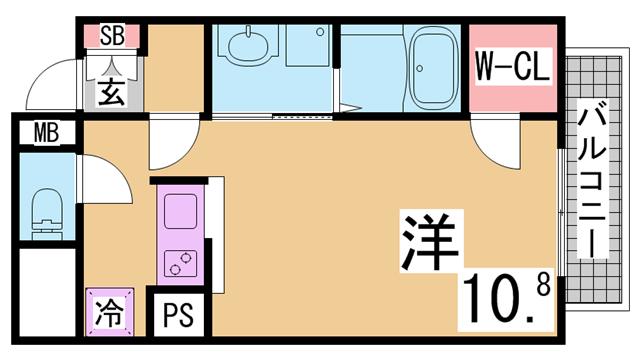 物件番号: 1111291547  神戸市兵庫区永沢町2丁目 1K マンション 間取り図