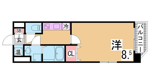 物件番号: 1111291548  神戸市兵庫区永沢町2丁目 1K マンション 間取り図