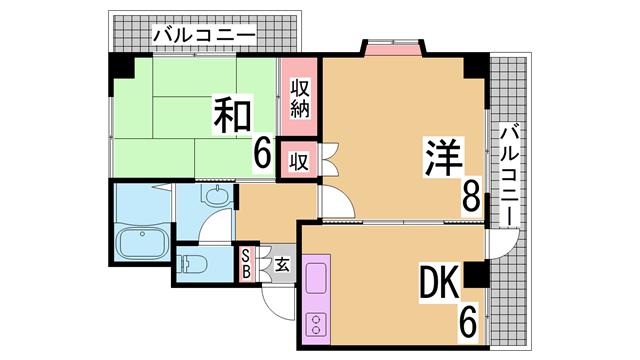 物件番号: 1111291553  神戸市兵庫区水木通6丁目 1LDK マンション 間取り図