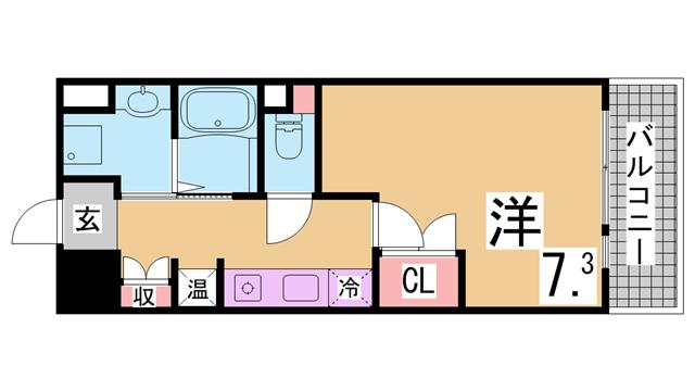 物件番号: 1111291555  神戸市兵庫区御崎本町2丁目 1K マンション 間取り図