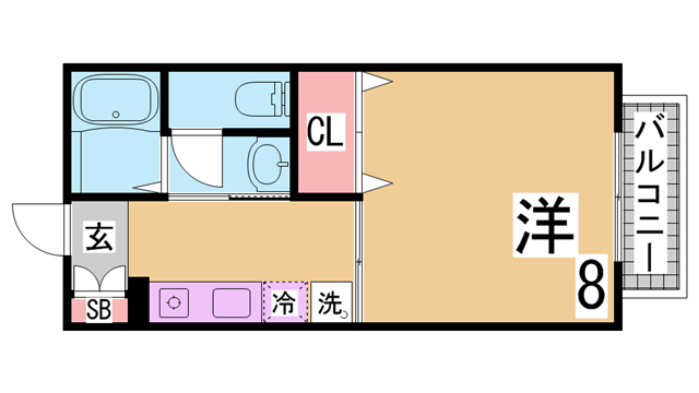 物件番号: 1111291557  神戸市長田区山下町4丁目 1K ハイツ 間取り図