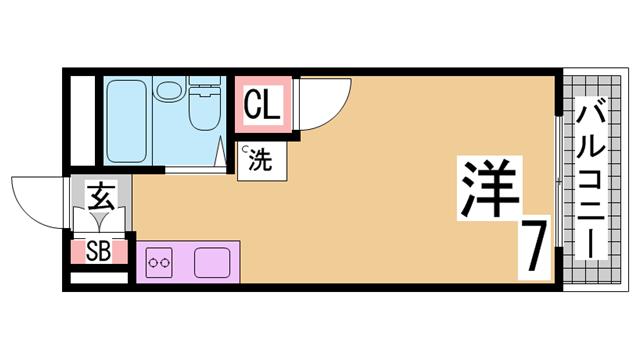 物件番号: 1111291560 グリーンコテージ須磨  神戸市須磨区須磨浦通5丁目 1K ハイツ 間取り図