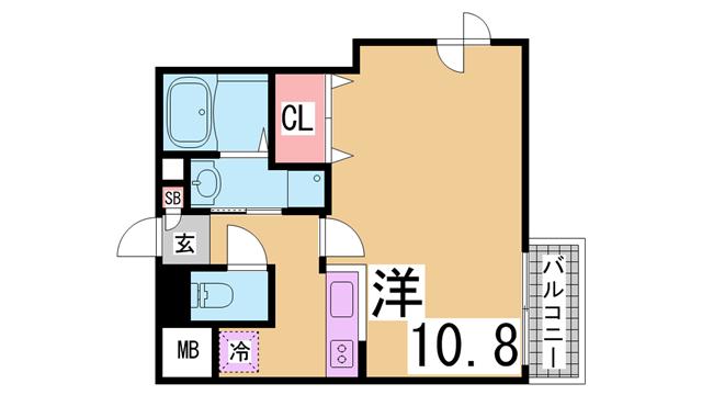 物件番号: 1111291563  神戸市長田区御蔵通6丁目 1K マンション 間取り図