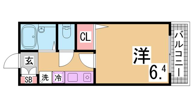 物件番号: 1111291571  神戸市須磨区桜木町2丁目 1K ハイツ 間取り図