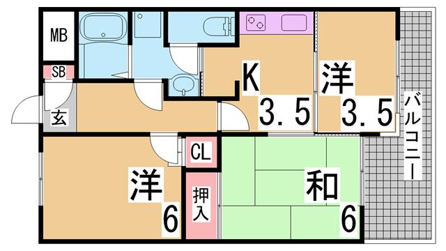物件番号: 1111291573  神戸市兵庫区駅前通4丁目 3K マンション 間取り図