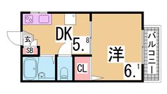 敷金礼金なし^^人気のセパレート ガスキッチン 室内洗濯置場^^ 203の間取
