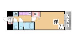 2口ガスシステムキッチン^^オートロック^^三点セパレート^^神戸女子大生に人気 307Aの間取