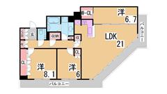 アーバンライフ神戸三宮ザ・タワー 1501の間取