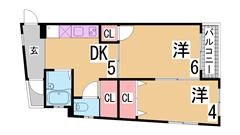 室内大改装 オールフローリング 大型CL 環境良好 205の間取