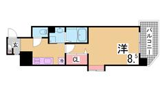三宮駅5分のインターネット無料築浅マンション^^追炊機能、2口ガスキッチン^^ 201Aの間取