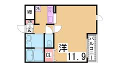 ペットOK(犬・猫)^^コンビニ・スーパー・駅近のオートロック付築浅物件^^ 102の間取