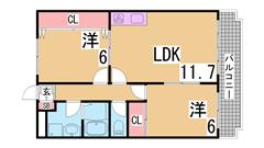 3DKから2LDKに室内リノベーション^^オール洋室^^ 202の間取