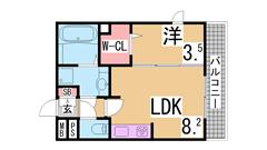 ガス三口システムキッチン ウォークインクローゼット 1坪タイプの大きい浴室 101の間取