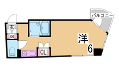 オートロック・エレベーター・照明器具付きのレディースマンション^^ 201Aの間取