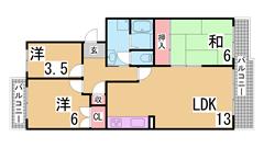学園都市駅スグの人気マンション^^礼金0・分割可能・三点セパレート・ガスキッチン 402の間取