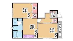システムキッチン・追焚・オール洋室の2DK^^初期費用もおさえれます^^ 2-101の間取