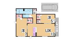 人気の谷上南町築浅ハイツ 駐車場代1台込み 大手ハウスメーカー施工 201の間取