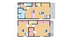 インターネット無料^^オートロック・追焚・システムキッチン付の築浅テラスハウス 104の間取