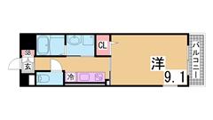 オートロック・システムキッチン(ガス2口)で室内も広く人気の物件です^^ 102の間取