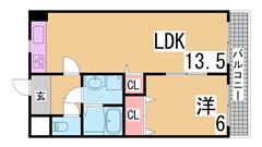 広々リビング JR須磨海浜公園駅まで平坦で徒歩すぐ キッチン広い 502の間取