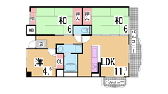 仲介手数料・礼金・更新料0円^^小・中学校も近くマンション下に公園も有り^^ 607の間取