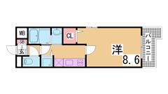 敷金0円の築浅マンション^^オートロック・2口ガスコンロ付^^ 205の間取