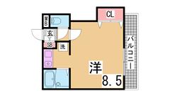 ペットOK^^神戸女子大生に人気の駅近セパレート^^ 204の間取