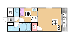 須磨水族館すぐの人気の1DK^^三点セパレート、南向き^^ 401の間取