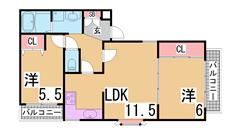 オールフローリングの2LDK^^システムキッチン・大型収納^^ 301の間取