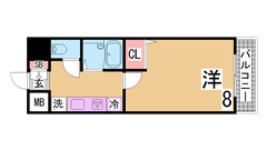 神戸大学名谷キャンパス徒歩ですぐ^^室内・キッチンも広い^^インターネット代込み 107の間取