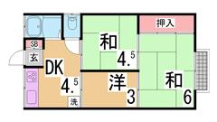 ペット(犬・猫)OK^^敷金礼金0円^^賃料もかなり安めの設定です^^ 104の間取